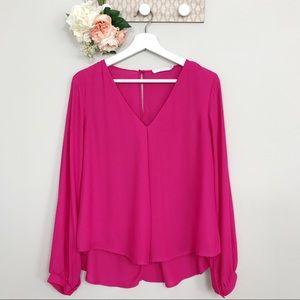 Lush pink blouse keyhole back size small